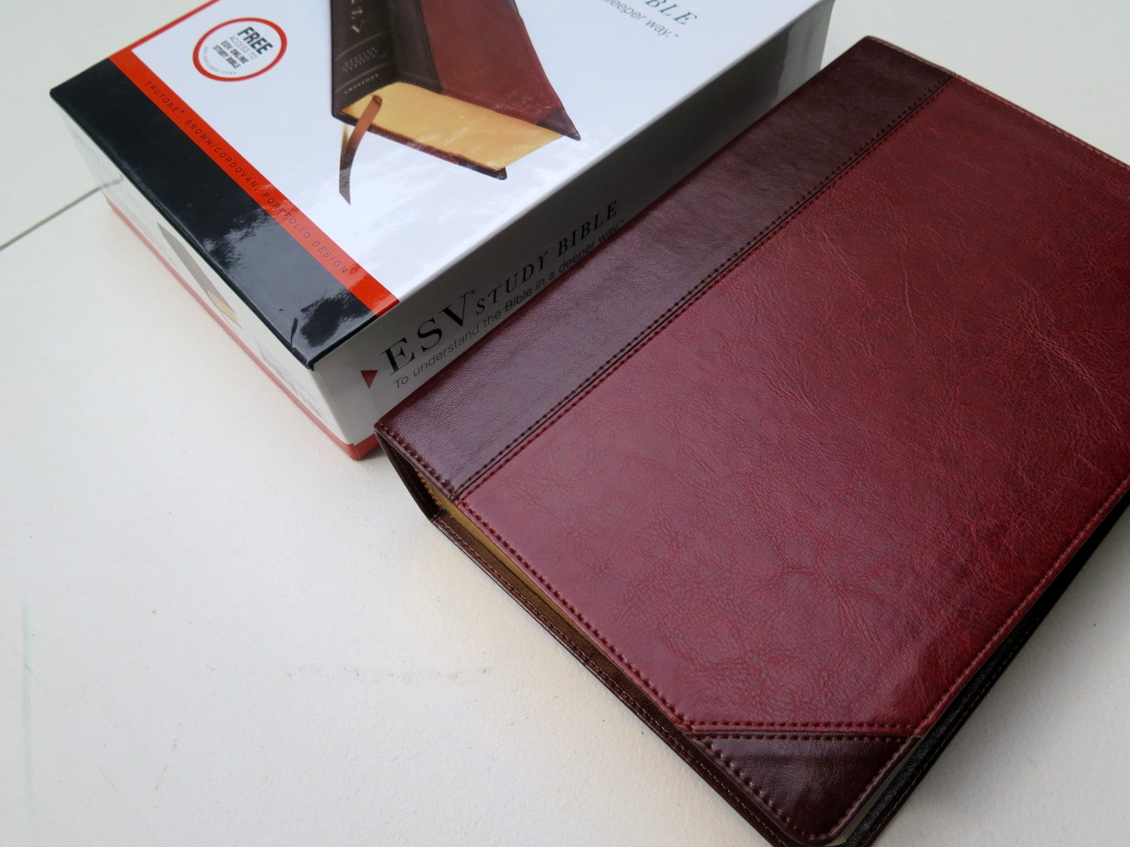 ESV Study Bible (Brown, Flap with Strap) Natural Leather ...
