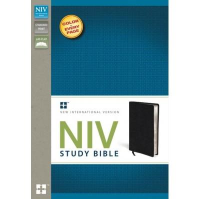 Zondervan NIV Study Bible in Top Grain Leather Black